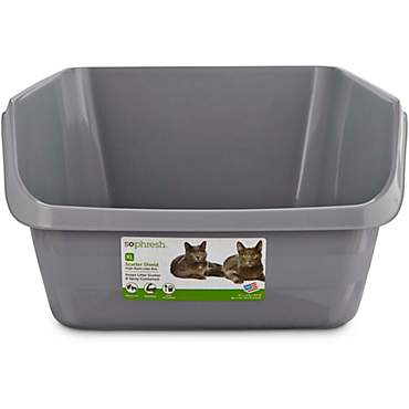 So Phresh Scatter Shield High-Back Litter Box in Gray
