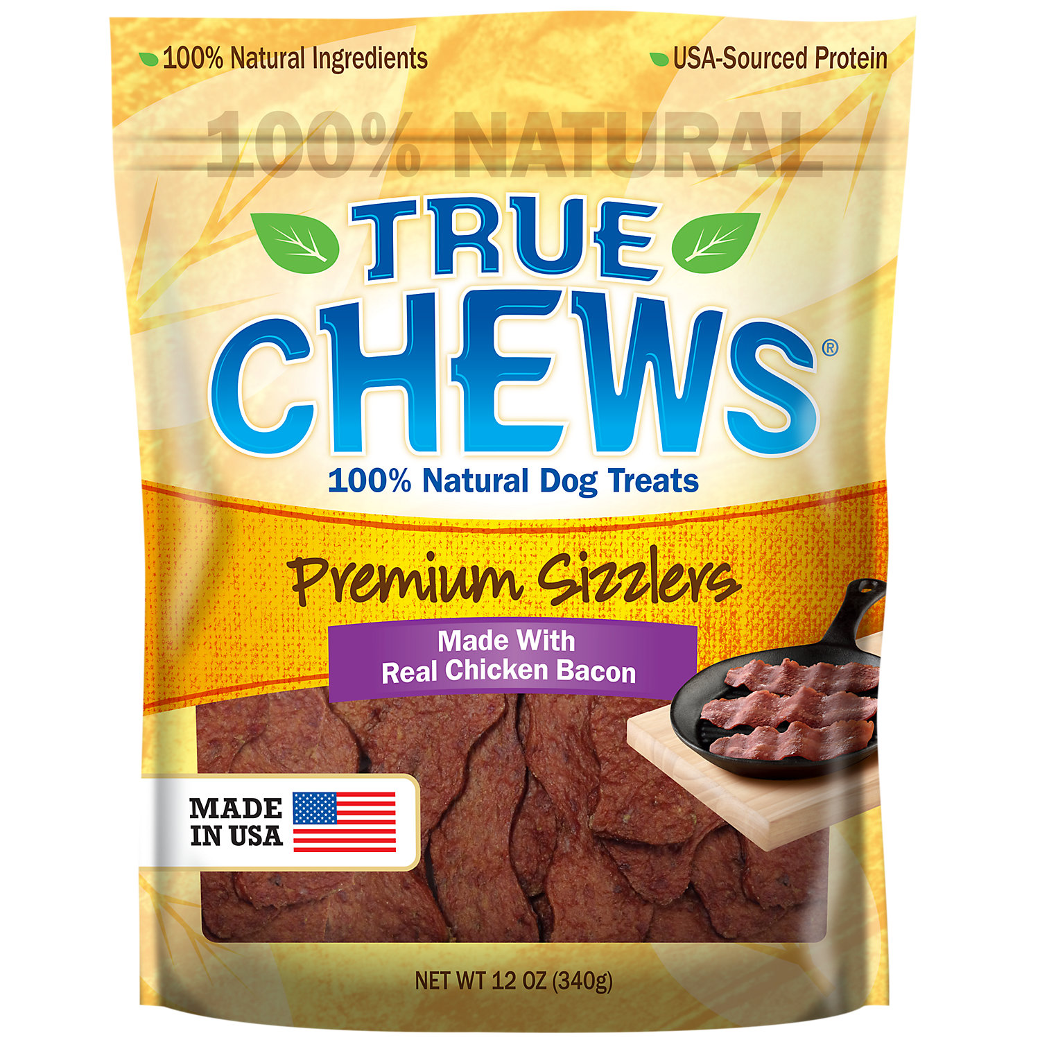 True Chews Premium Sizzlers Made With Real Chicken Bacon Dog Treats 12 Oz.