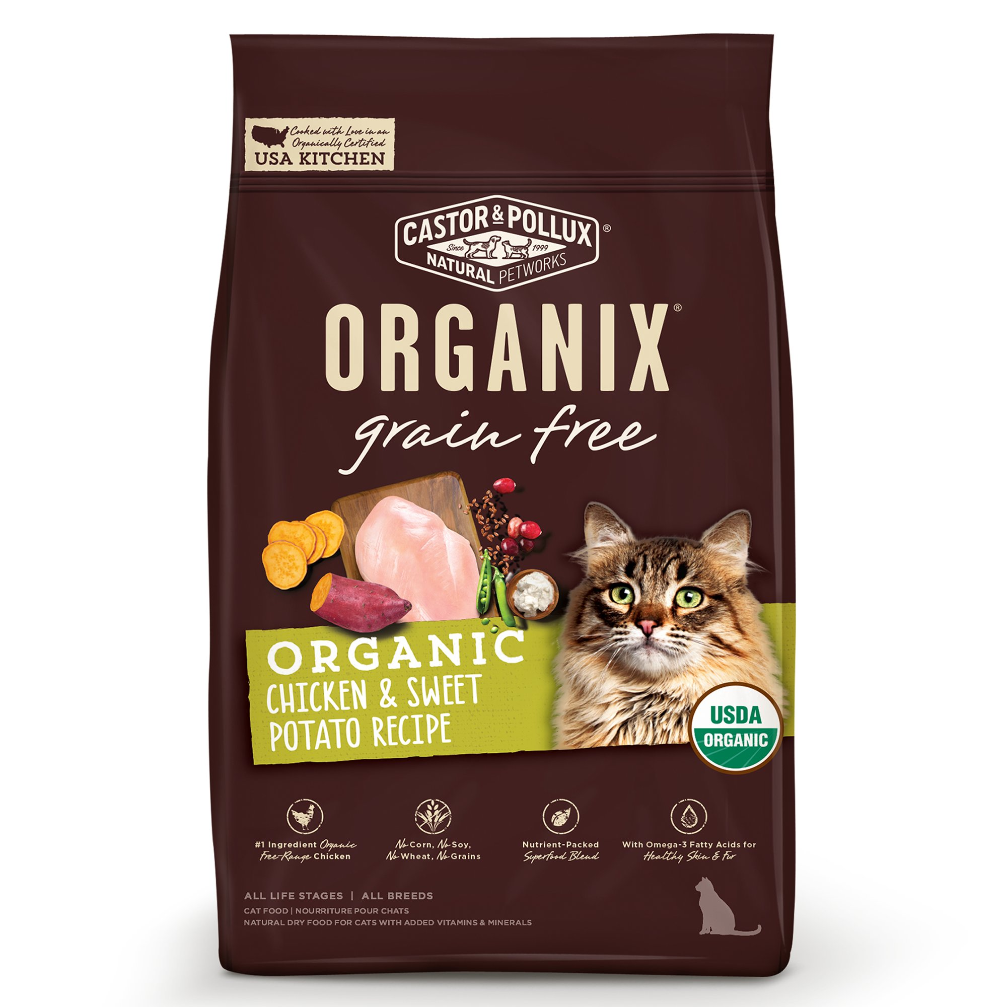 Image of Castor & Pollux Grain Free Chicken and Sweet Potato Recipe Dry Cat Food, 10 lbs.