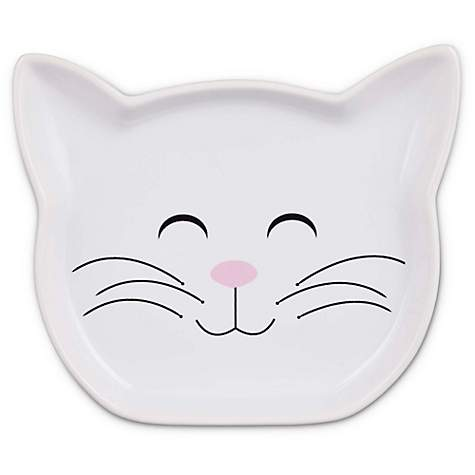 Harmony Ceramic Kitty Face Cat Saucer in White