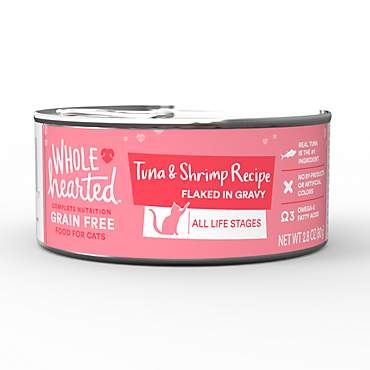 WholeHearted All Life Stages Canned Cat Food - Grain Free Tuna and Shrimp Recipe Flaked in Gravy