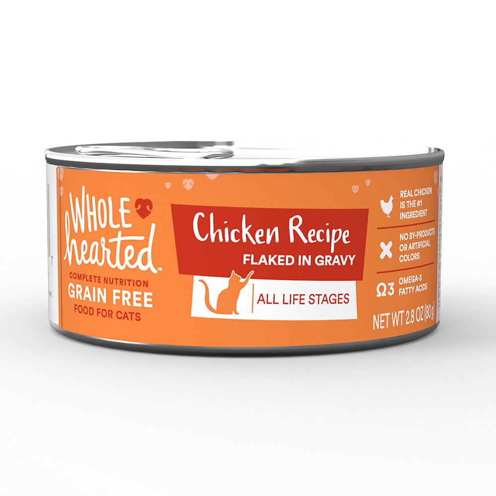 WholeHearted All Life Stages Canned Cat Food - Grain Free Chicken Recipe Flaked in Gravy, 2.8 OZ, Case of 12