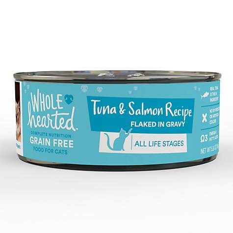 WholeHearted All Life Stages Canned Cat Food - Grain Free Tuna and Salmon Recipe Flaked in Gravy
