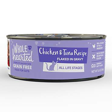 WholeHearted All Life Stages Canned Cat Food - Grain Free Chicken and Tuna Recipe Flaked in Gravy