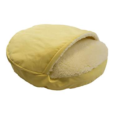Snoozer Luxury Micro Suede Cozy Cave Pet Bed in Lemon