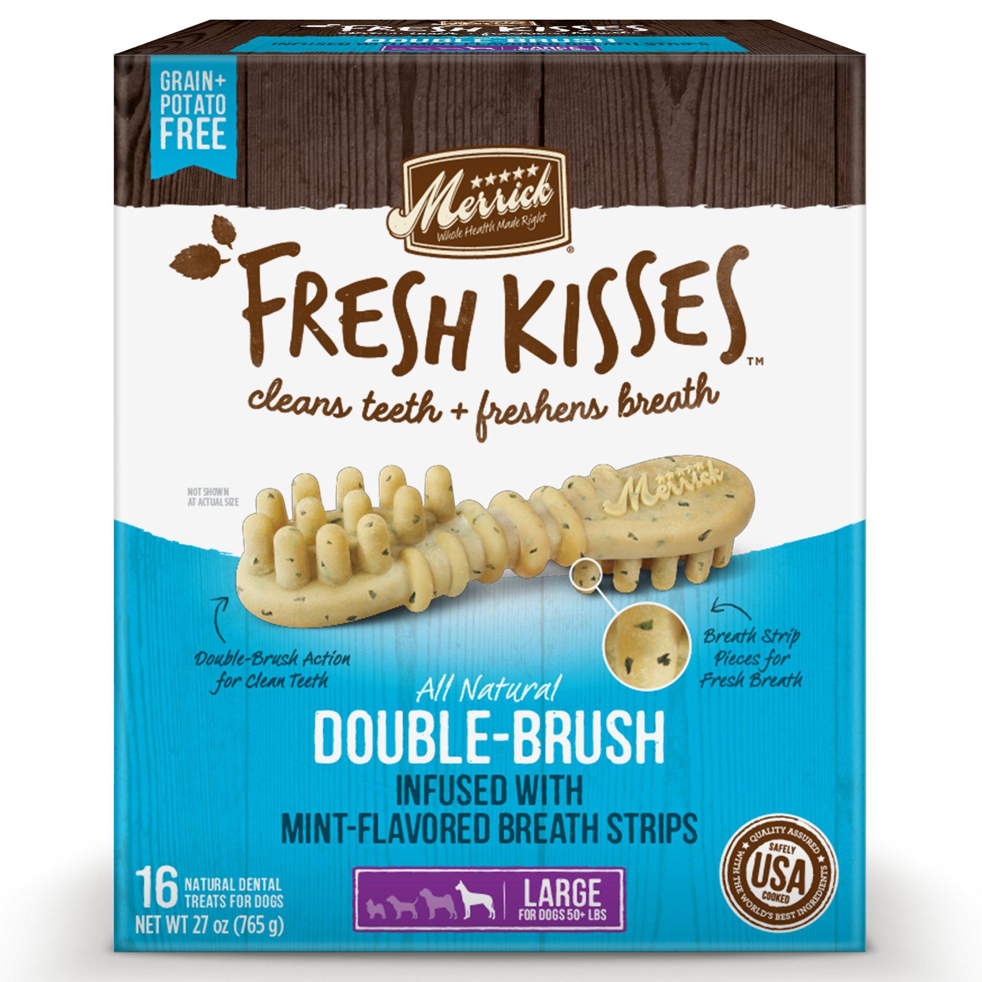 Fresh Kisses Mint Breath Strips Large Brush Dental Dog Treats | Petco