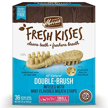 Merrick Fresh Kisses Mint Breath Strips Small Brush Dental Dog Treats