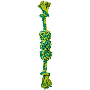 Leaps & Bounds Rope Tug Triple Monkey Fist Dog Toy in Assorted Colors