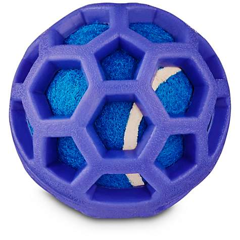 Leaps & Bounds Chomp and Chew Tennis Ball Dog Toy With TPR Cage in Assorted Colors