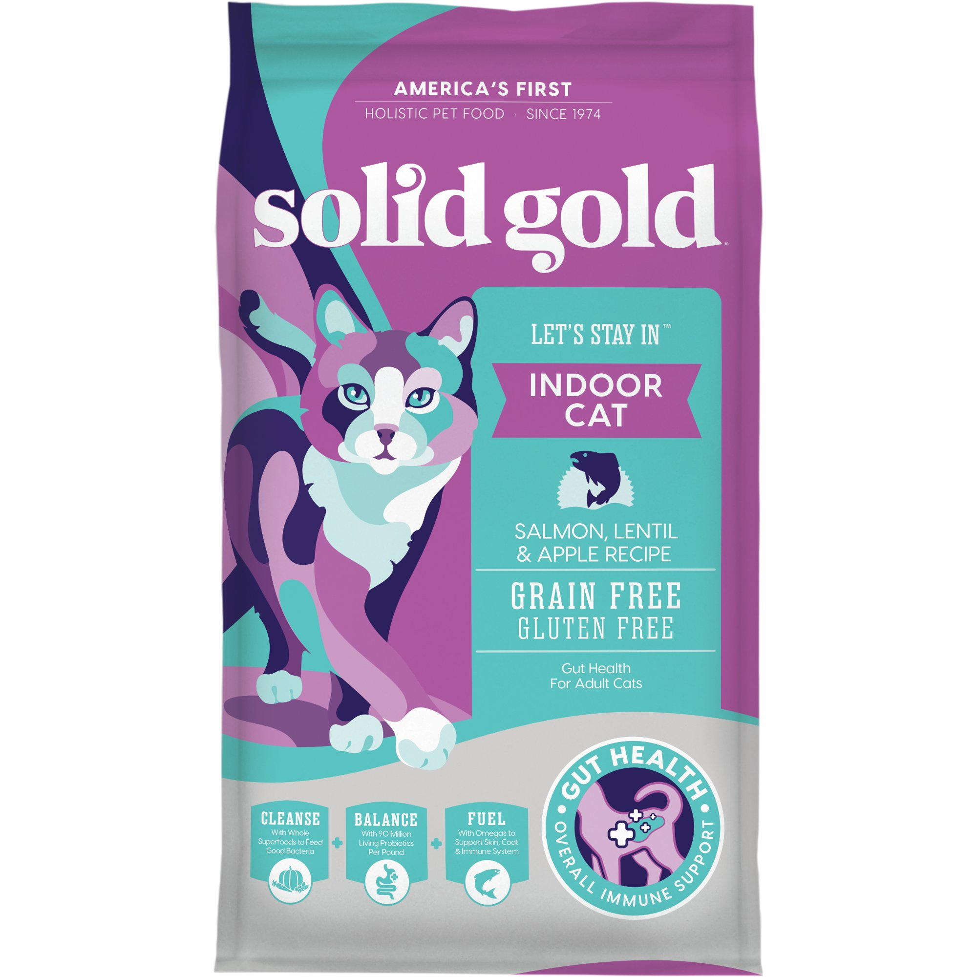 Solid Gold Let\'s Stay In Indoor Cat Salmon, Lentil & Apple Recipe ...
