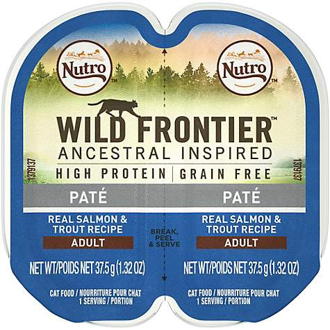 Nutro Wild Frontier Perfect Portions Pate Real Salmon and Trout Wet Cat Food Trays 2.65 oz.