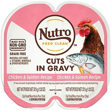 Nutro Perfect Portions Cuts in Gravy Real Chicken and Salmon Wet Cat Food Trays 2.65 oz.