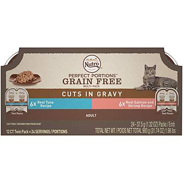 Nutro Perfect Portions Cuts in Gravy Variety Pack Real Tuna, Salmon and Shrimp Wet Cat Food Trays