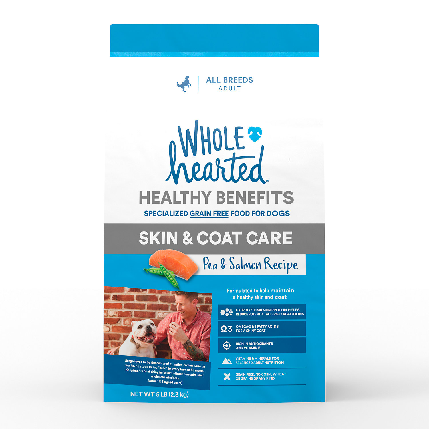 Wholehearted Grain Free Skin And Coat Care Pea And Salmon Recipe Dry Dog Food, 5 Lbs.