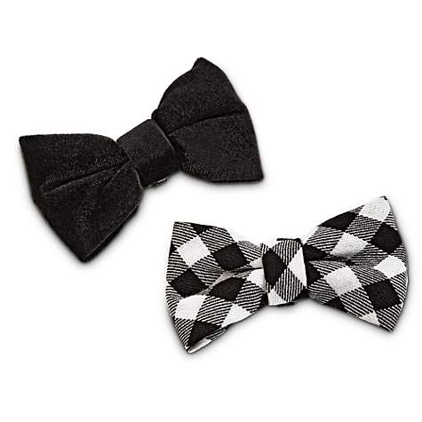 Bond & Co. Black and Gingham Dog Bow Tie Set