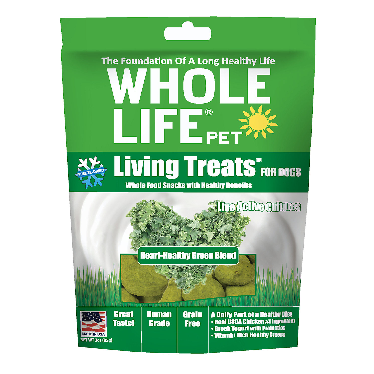 Whole Life Pet Living Treats Usa Freeze Dried Green Blend Treats For Dogs, 3 Oz.