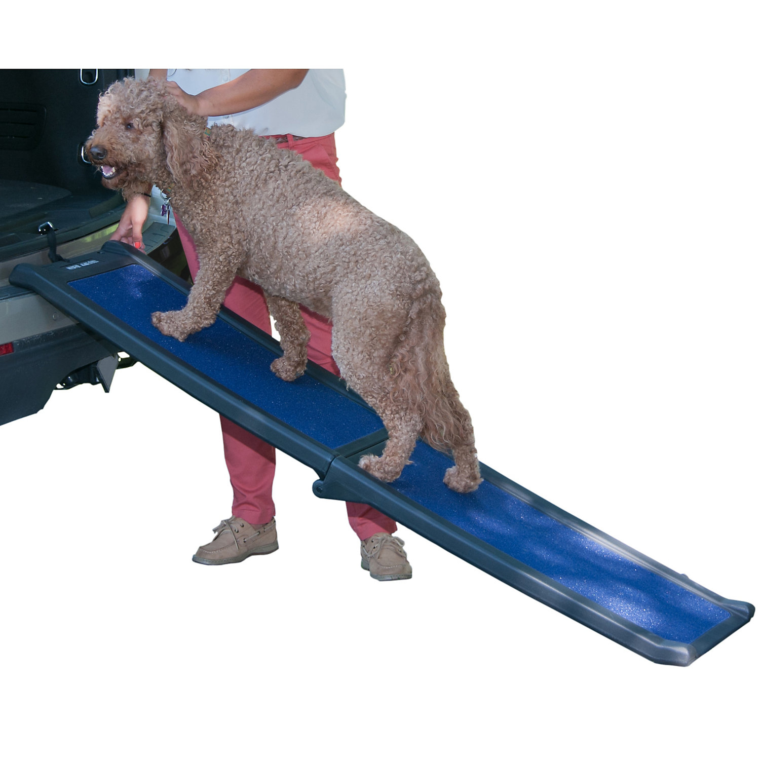 Pet Gear Full Length Bi Fold Pet Ramp In Black And Blue One Size Fits All