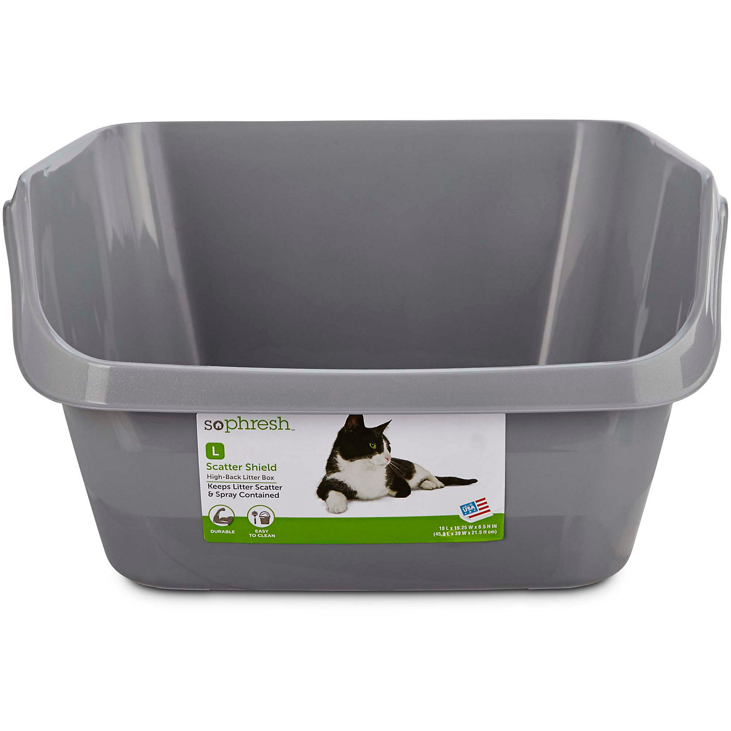 So Phresh Scatter Shield High-back Litter Box In Gray, 18.5 L X 15 W X 8.5 H, Large