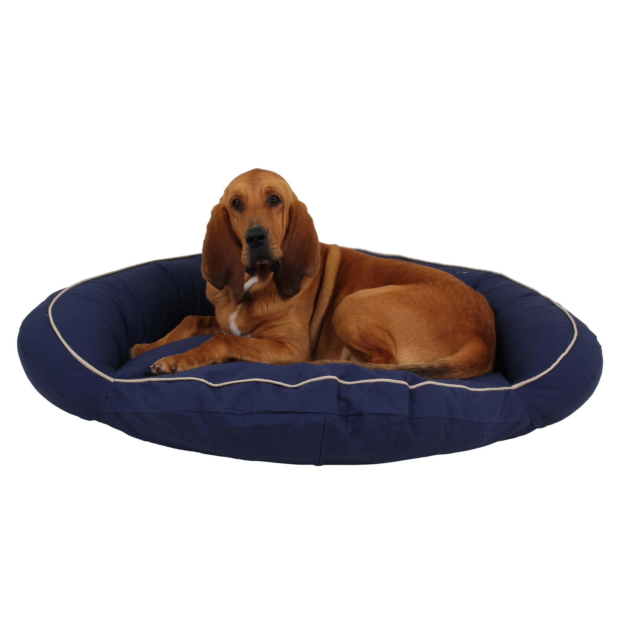 carolina pet bolster bed in blue canvas with khaki cording | petco