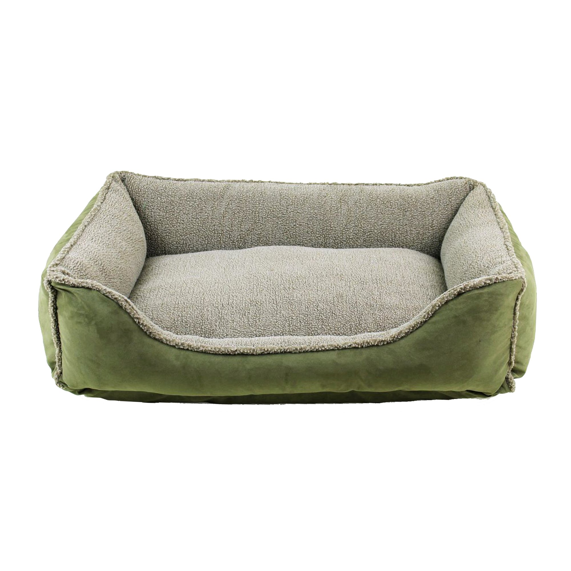 carolina pet faux suede & tipped berber rectangle comfy cup bed in