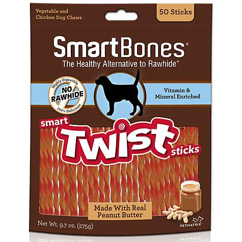 SmartBones Peanut Butter Smart Twist Stick Dog Treats