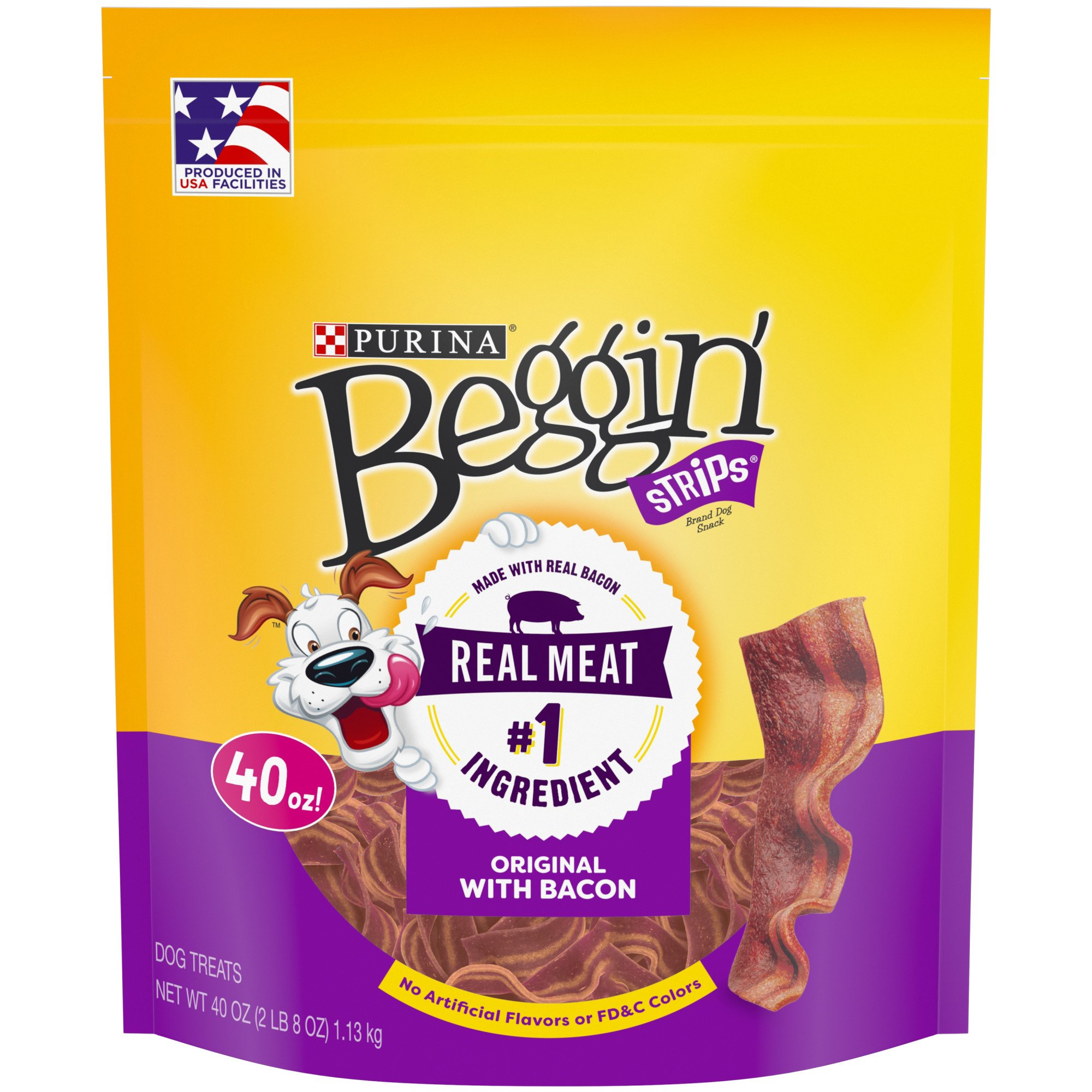 Purina Beggin' Strips Bacon Flavor Dog Treats, 40 oz., Pouch