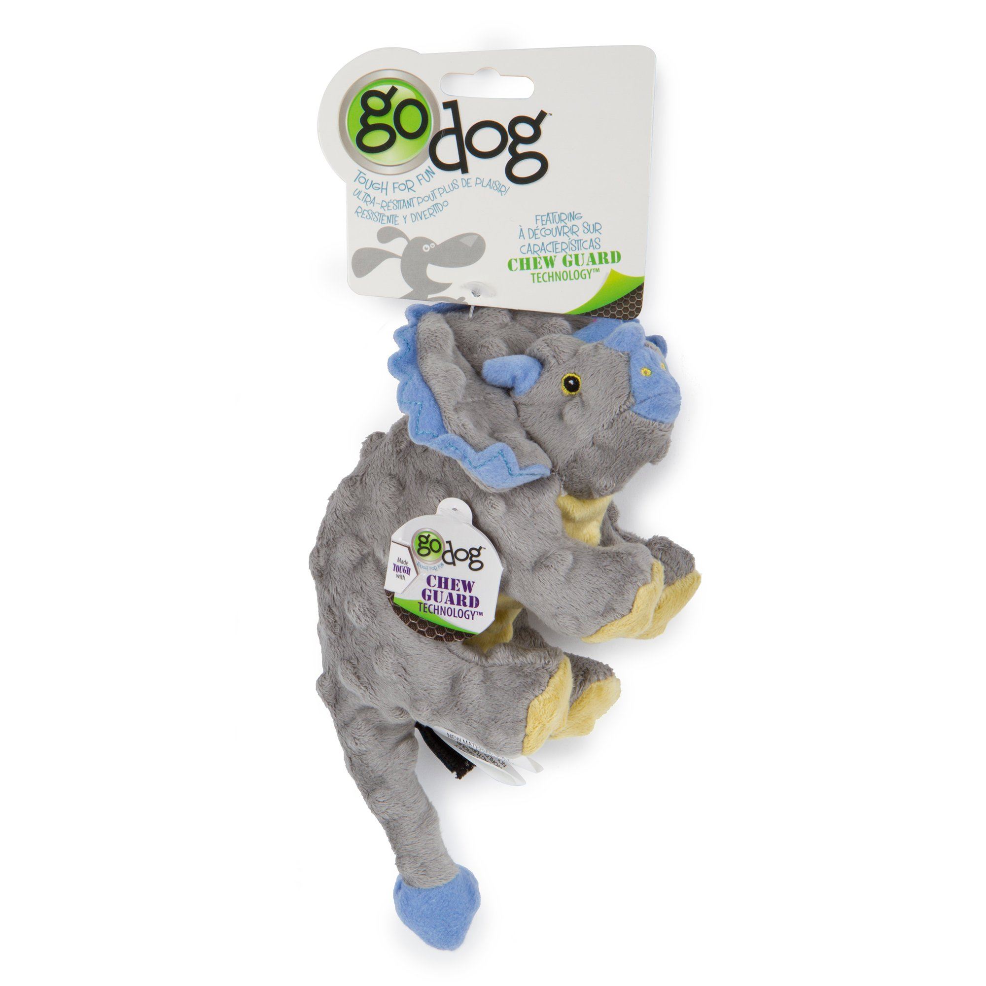 Image of Godog Dinos Frills Gray Small W/ Chew Guard Grey, Small, Grey / Blue
