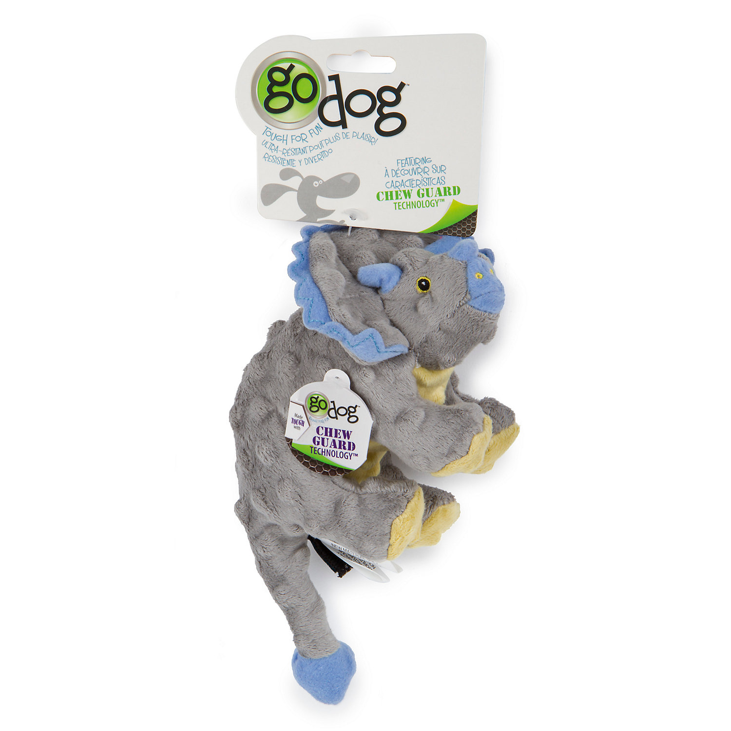 Image of Godog Dinos Frills Gray Small W/ Chew Guard Grey, Small, Grey / Blue