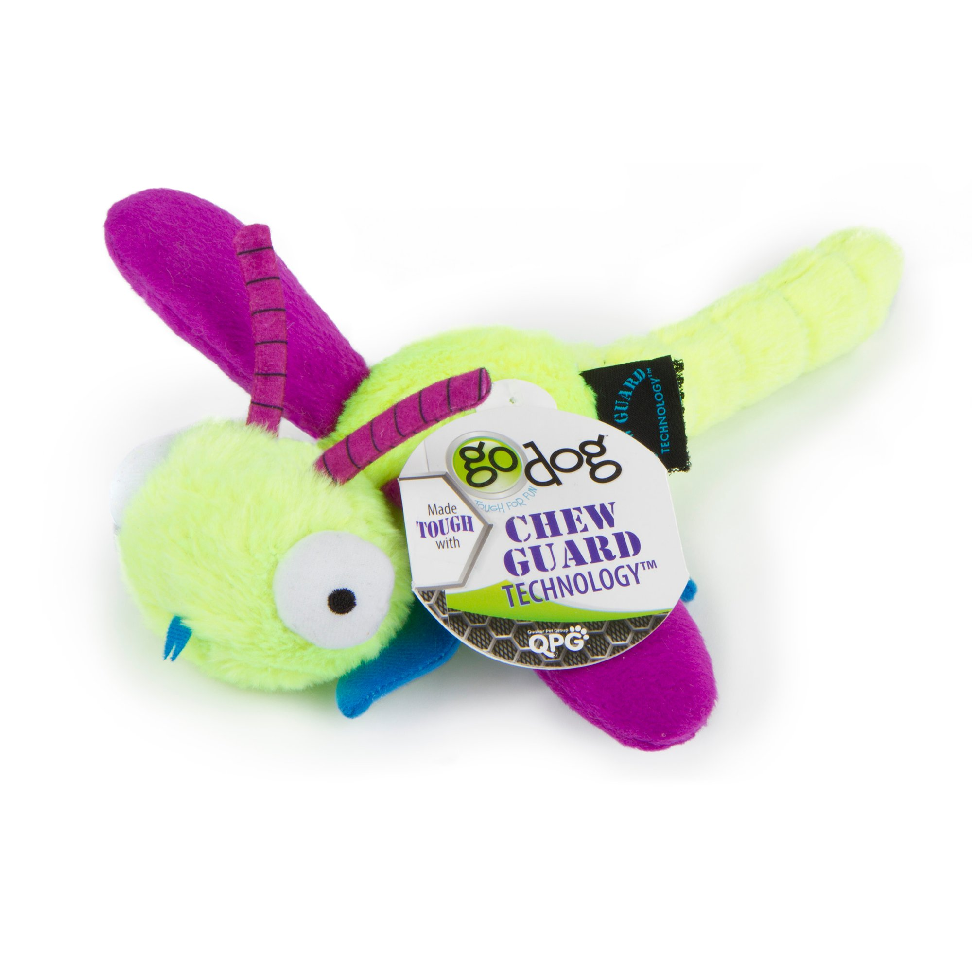 Image of Godog Bugs Dragon Fly Lime Large With Chew Guard Green, Large, Green / Purple