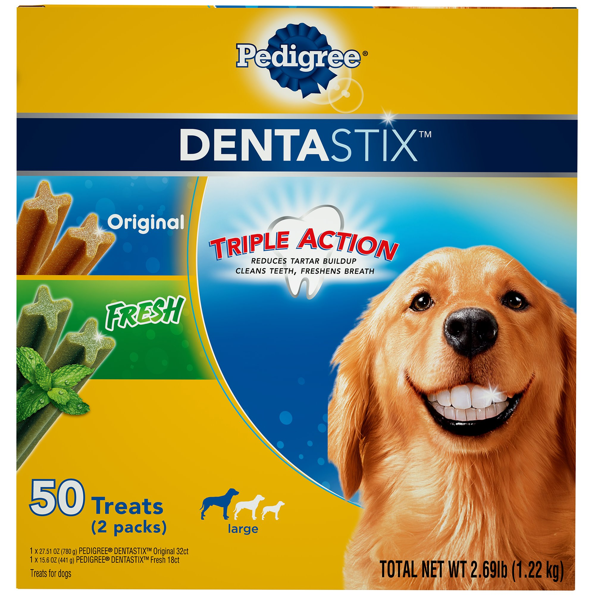 Pedigree Dentastix Original And Fresh Variety Pack Large Treats For Dogs, 2.69 lbs.,
