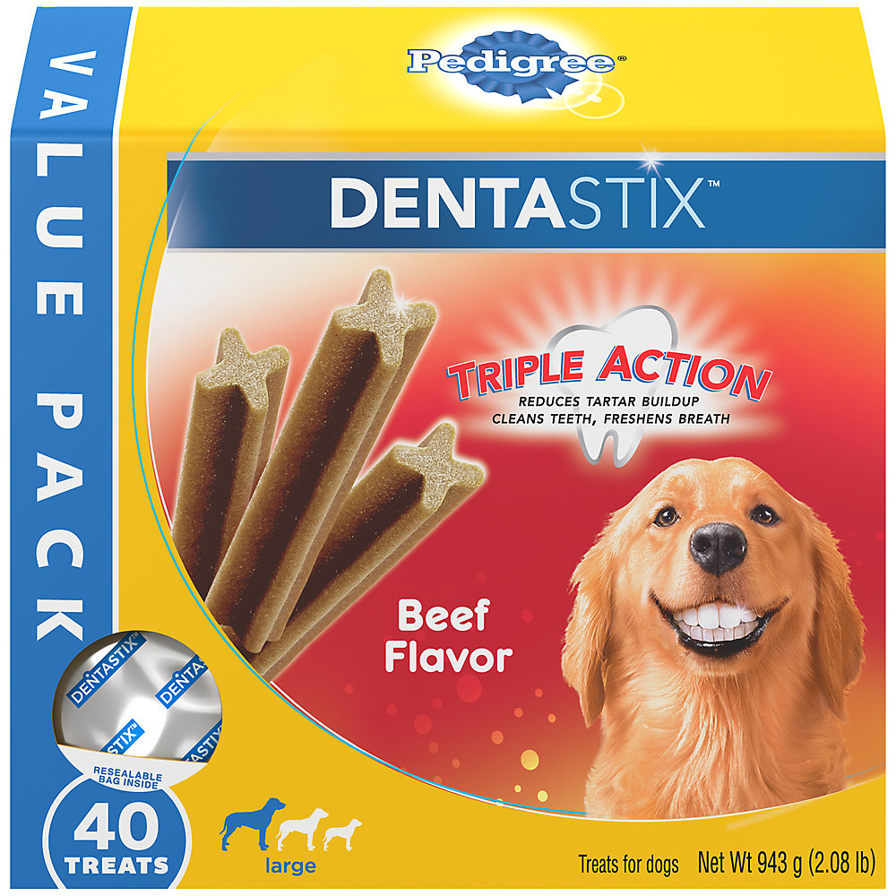 Pedigree Dentastix Beef Flavor Value Pack Large Treats For Dogs, 2.08 lbs., 40