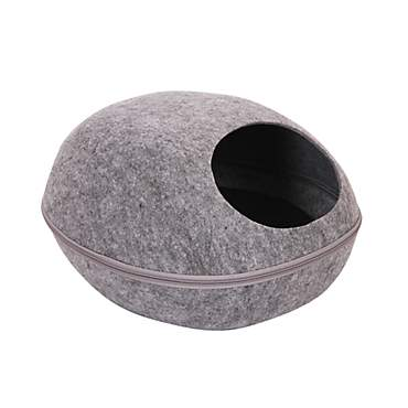 PetPals Smoky Pod - Grey Felt Bed With Removable Cover