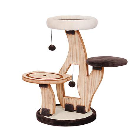 PetPals Lily Pad   Natural Wood Three Level Cat Tree With Perches | Petco