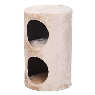PetPals Purr - Beige Two Level Round Cat Condo Hideaway
