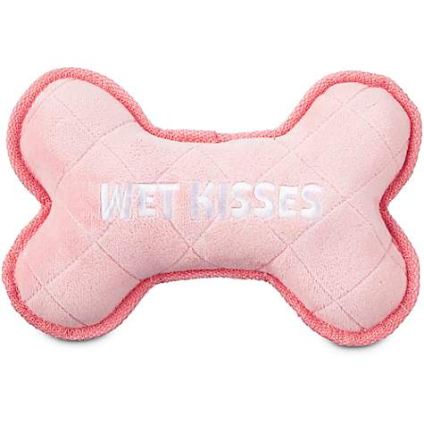 Leaps & Bounds Little Chews Pink Plush Bone Puppy Toy