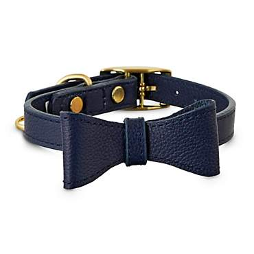 Bond & Co. Navy Leather Bow Tie Dog Collar