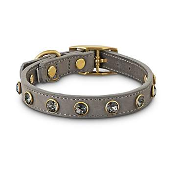 Bond & Co. Jeweled Gray Suede Dog Collar