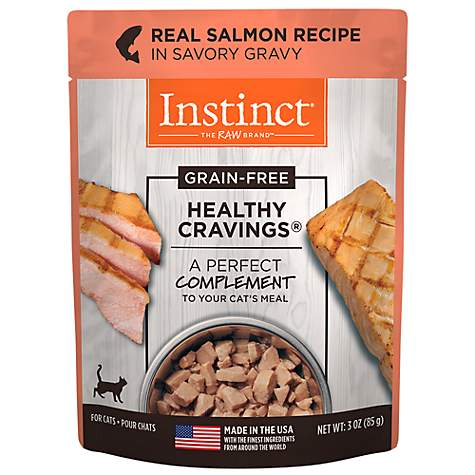Instinct Healthy Cravings Grain Free Real Salmon Natural Wet Cat Food Topper by Nature's Variety