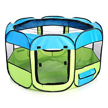 Pet Life All Terrain Lightweight Easy Folding Wire Framed Collapsible Travel Pet Playpen Blue And Yellow