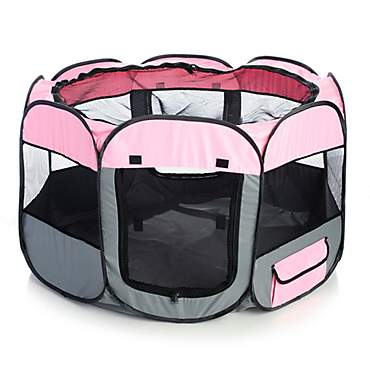 Pet Life All Terrain Lightweight Easy Folding Wire Framed Collapsible Travel Pet Playpen Pink And Grey
