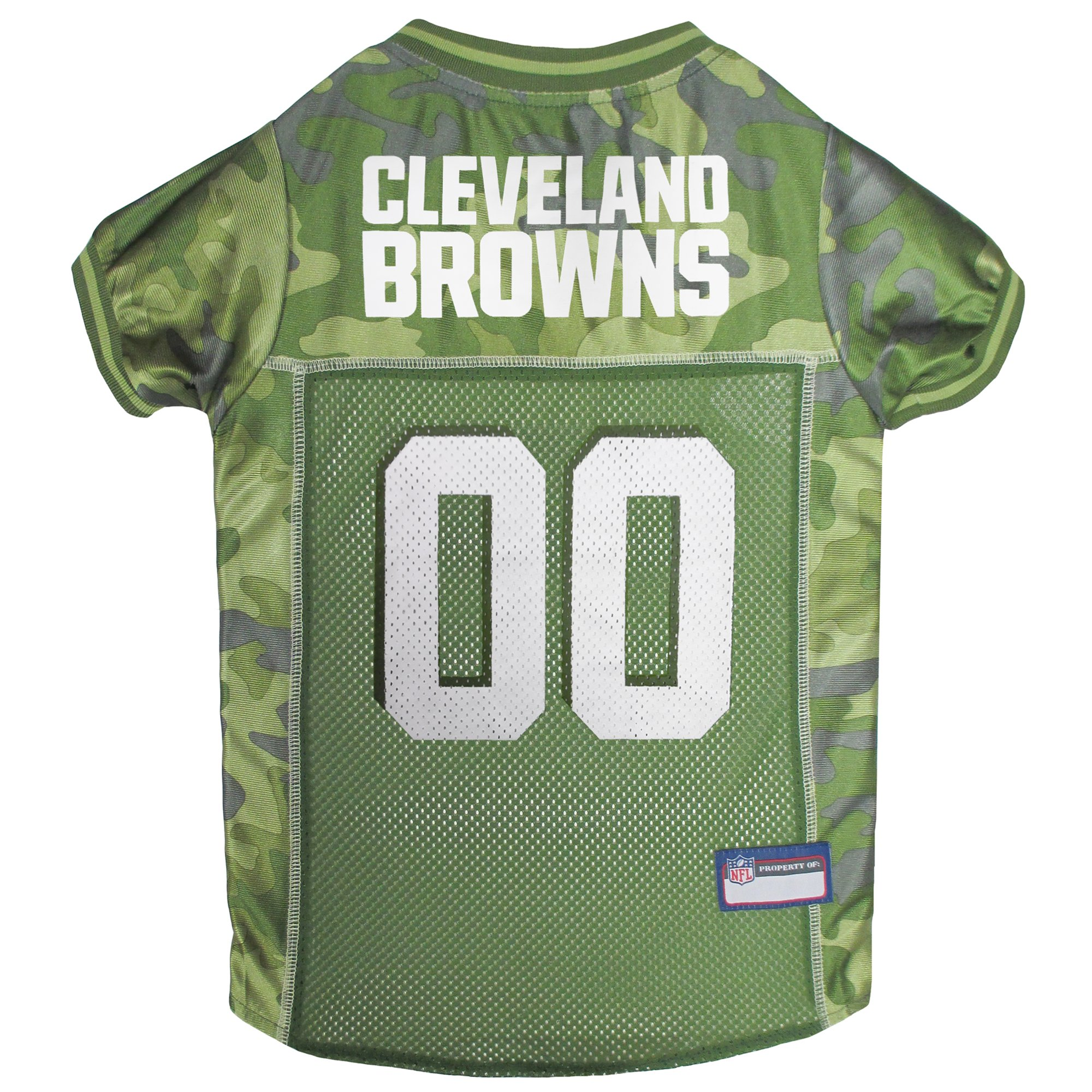 Image of Pets First Cleveland Browns Camo Jersey, Large, Green