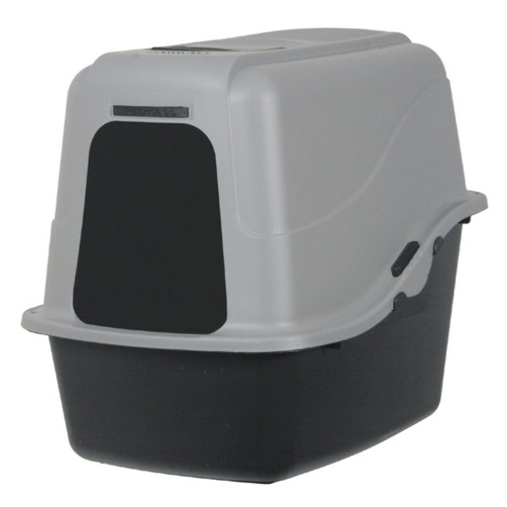 Petmate black hooded litter pan with mircoban petco for Dog litter box petco