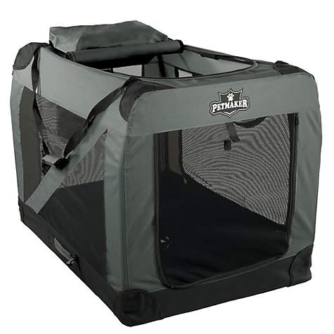 PETMAKER Portable Soft Sided Pet Crate-Gray