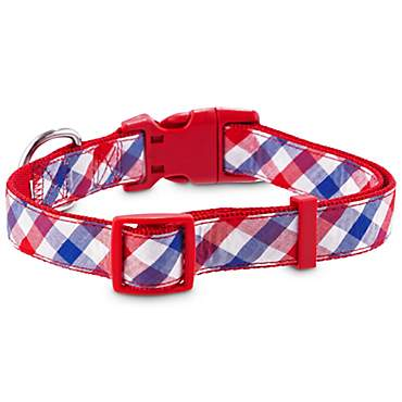 Patriotic Pets Red White and Blue Plaid Dog Collar