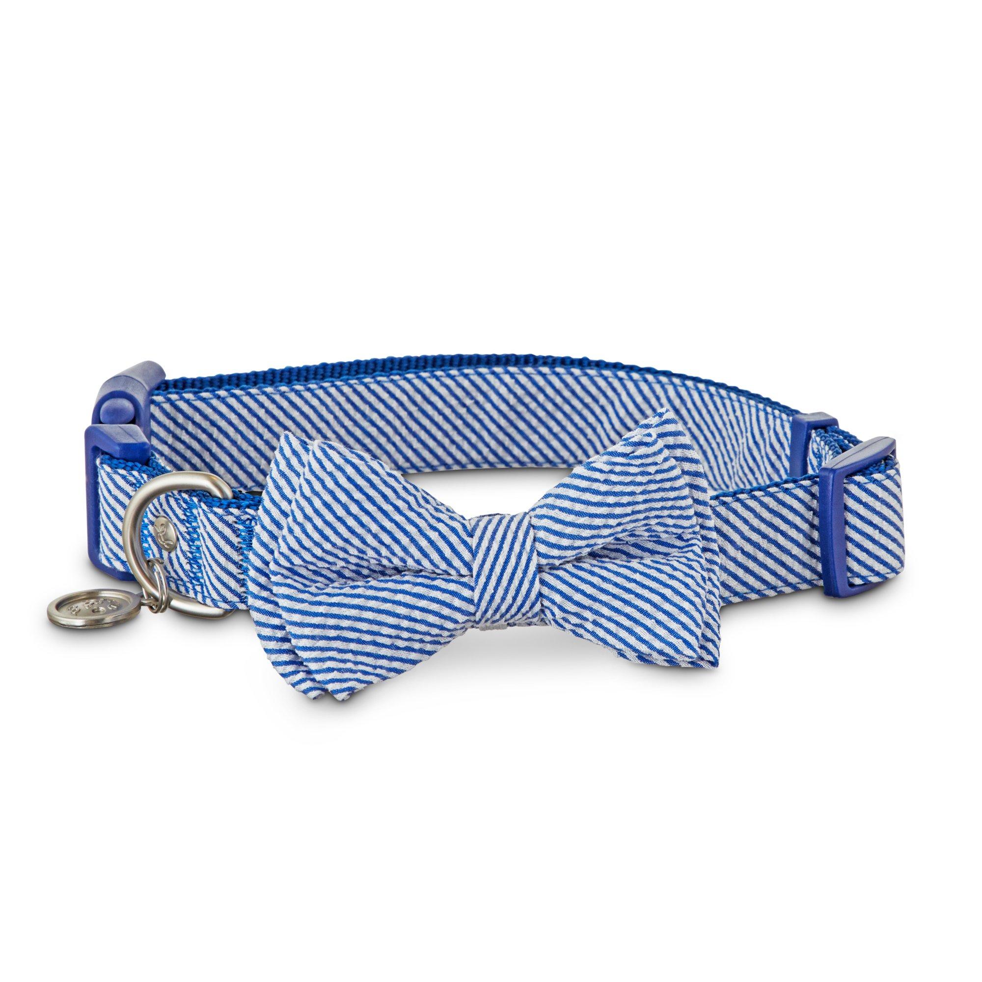 Bond & Co. Navy Seersucker Bow Tie Dog Collar | Petco at Petco in Braselton, GA | Tuggl