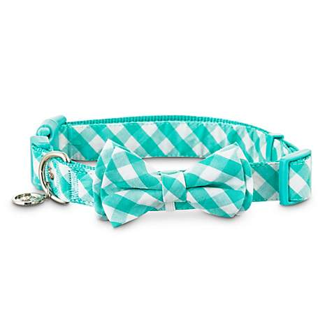 Bond & Co. Teal Gingham Bow Tie Dog Collar