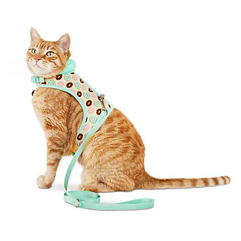 Bond & Co. Donut-Print Hooded Cat Harness and Leash Set