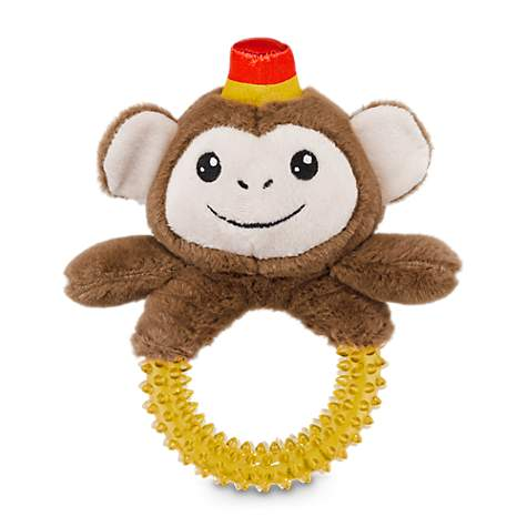 Jubilee Monkey Plush Dog Toy With Rubber Ring Handle
