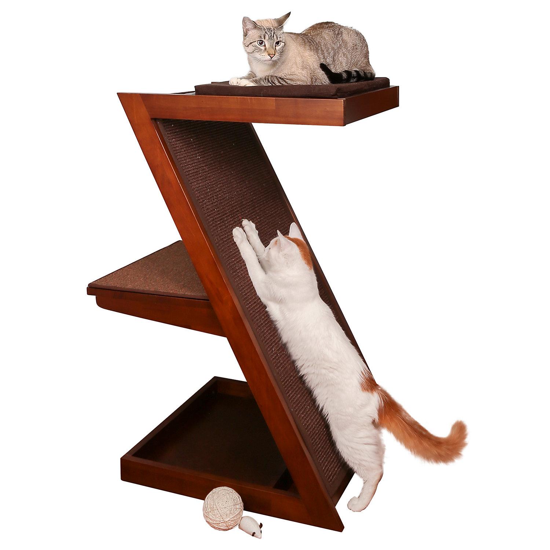 "The Refined Feline Zen Cat Scratcher In Mahogany, 21.25"" L X 29"" W X 38.5"" H, X Large, Brown"