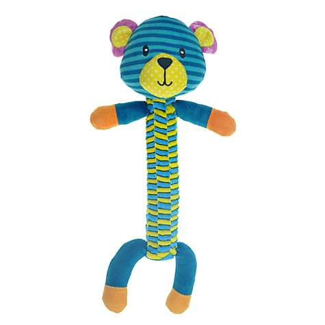 Bark-A-Boo Braid Twister Bear Dog Toy